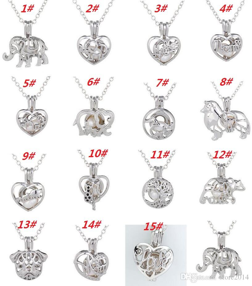Love Wish Pearl Cages Locket Necklace Hollow Out Animal Oyster Freshwater Pearl Elephant/Life Tree/Love DIY Mother's Day Jewellery DHL free