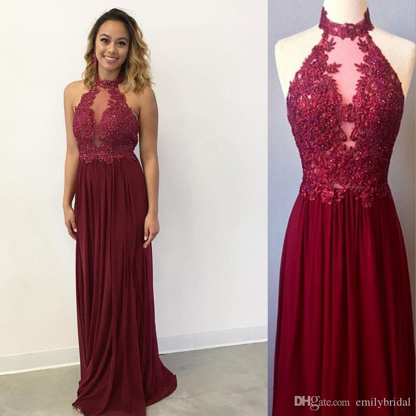 Hot Sale Burgundy Vintage Prom Dresses Long Chiffon Floor Length ...