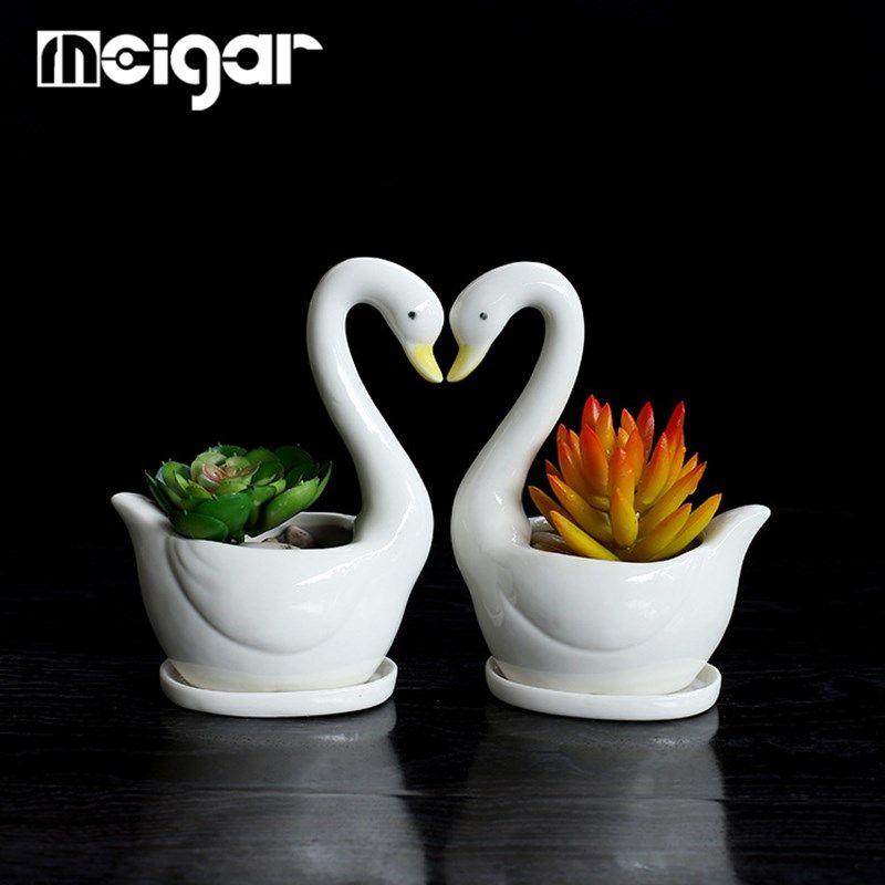 Flower Vase Ceramic Pot Swan Cute White Succulent Plant Pot Bonsai