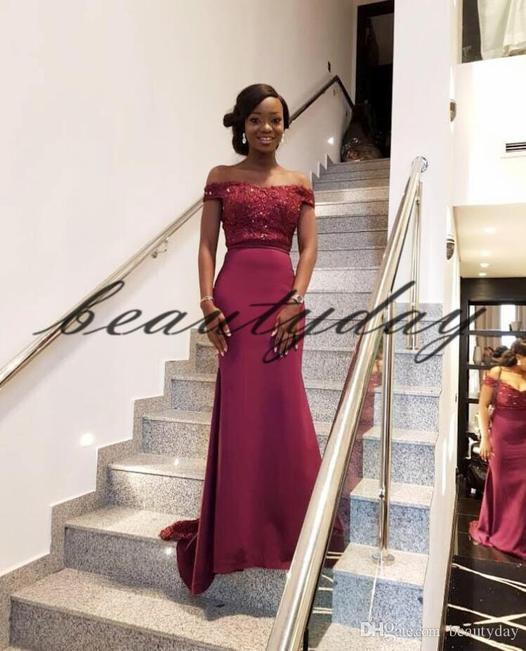 d6b9a9a564 Maroon Lace Bridesmaid Dresses 2019 New African Style For Nigerian Maid Of  Honor Gowns Formal Wedding Party Guest Dress Off Shoulder Taffeta  Bridesmaid ...