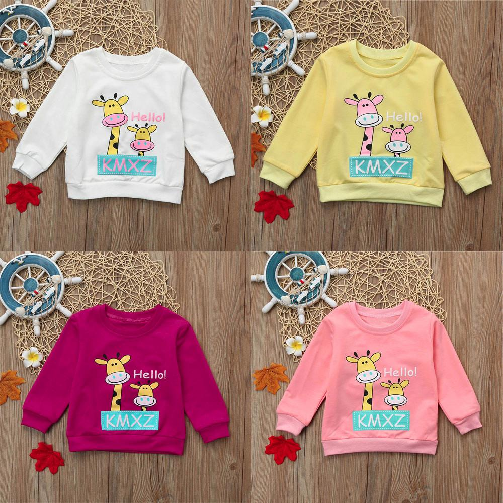 2019 Infant Newborn Baby Boys Girls Cute Cartoon Giraffe Letter Printed  Tops Sweatshirt Outfits Fashion Streetwear Cool Kid Clothes From Laurul 621f7874b323