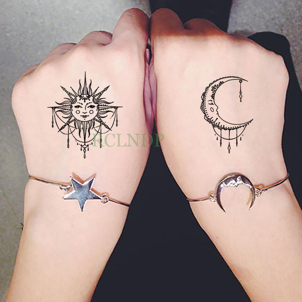 Impermeable Etiqueta Engomada Del Tatuaje Temporal Sol Luna Falso