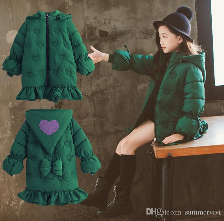 938e6ba7f Big Girls Princess Coat Kids Love Heart Embroidery Hooded Lantern ...