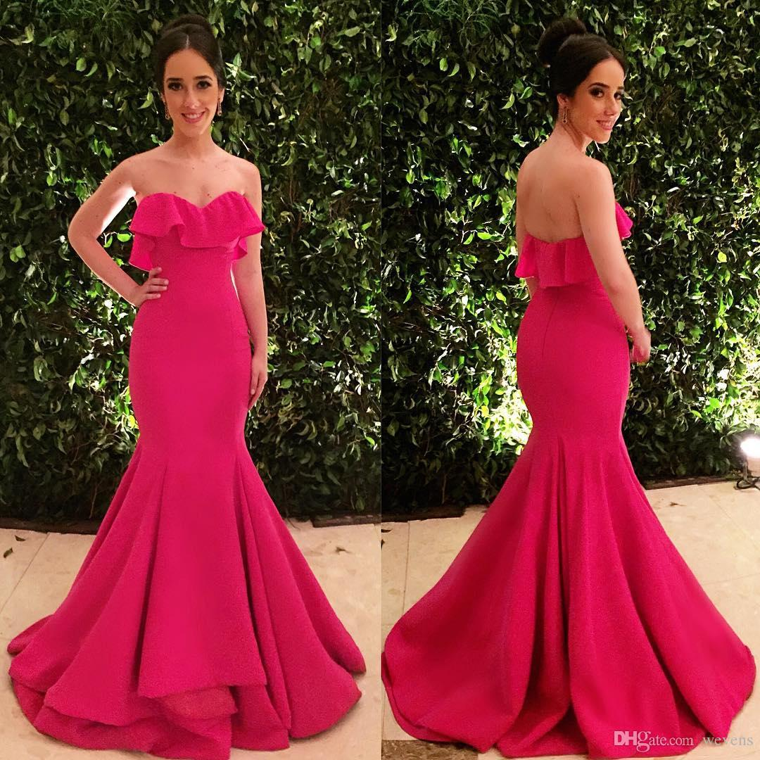 55f7c262d16d Cheap Hot Pink Mermaid Bridesmaids Dresses Ruffles Sweetheart Neckline  Wedding Guest Dress Floor Length Maid Of Honor Gowns Party Dresses Plus  Size Dresses ...
