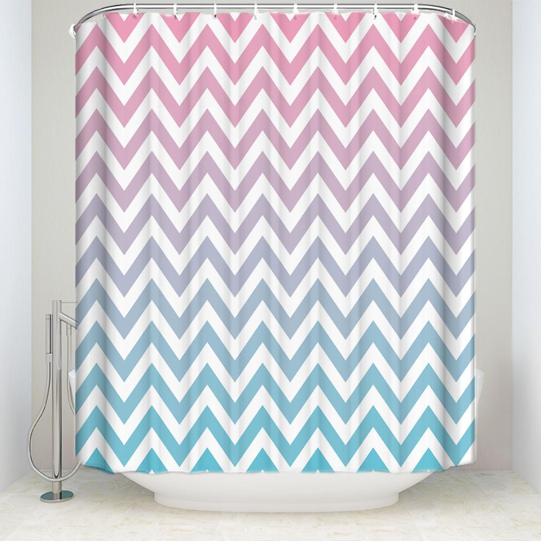 New Arrival Waterproof Stripe Shower Curtain With Hooks Polyester Fabric Pink Blue Bathroom Curtains For Home Decorations UK 2019 From Goutour