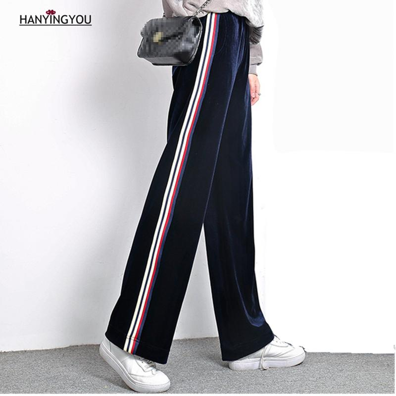 04e4a55da7ac9 2019 2017 New Spring Autumn Korean Velvet Women Elastic Waist Casual Loose  Plus Size Long Wide Leg Pants Fashion Side Striped Trouser From Zhusa