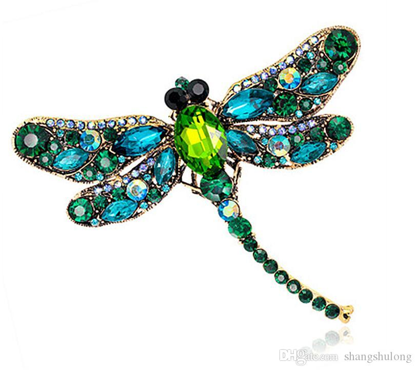 2018 Popular Women Fashion New Dragonfly Clear Rhinestone Brooches Women Wedding Party Jewelry Brooch pins Lady ryA11