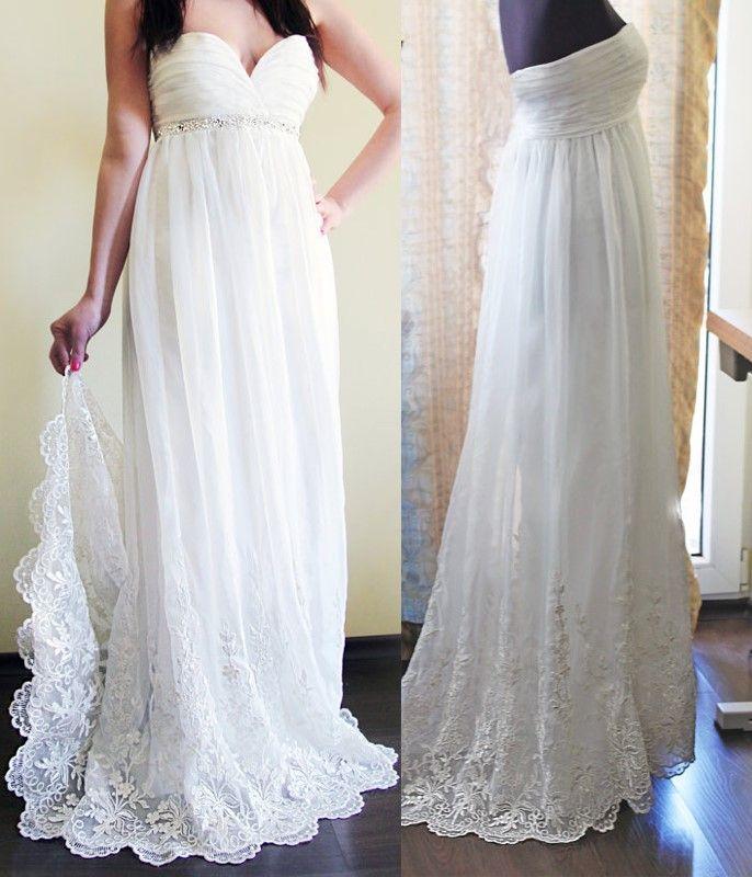 Elegante Praia Vestidos de Casamento Chiffon Querida 2018 Lace Applique Lantejoulas Plissado Trem Da Varredura Vestidos de Vestido de Noiva Da Praia Branca
