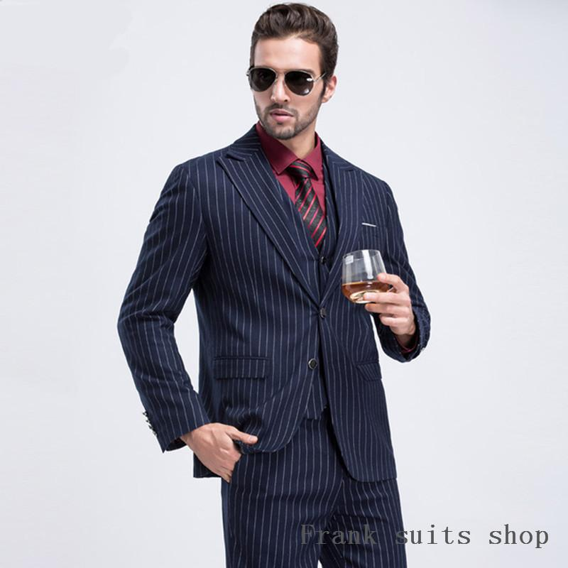 Compre 2018 Trajes De Los Hombres De Calidad Superior Chaqueta De Los  Hombres De La Raya Azul Marino Slim Fit Traje De Esmoquin De La Boda  Masculina Traje ... 5be42f075e0
