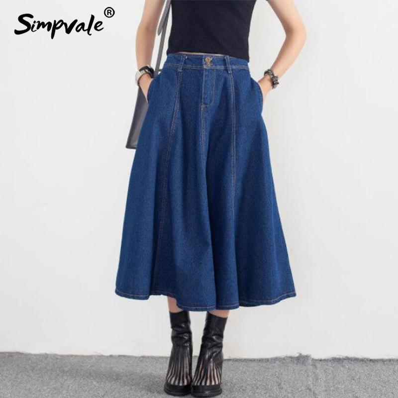 3c130328872aa8 SIMPAVLE Longue Taille Haute Casual Jupe En Jean Femmes D été Jeans Jupes D  été Femme Bleu Foncé Avec Poches Maxi Jupe