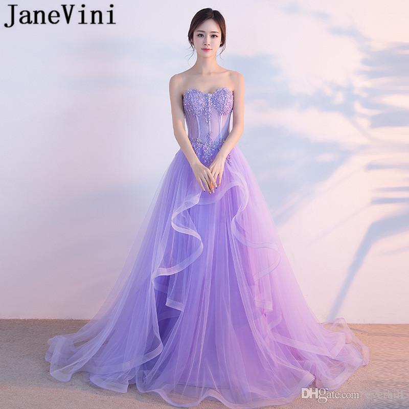 JaneVini Princess Beaded Evening Prom Dresses 2018 Long Lace Sequins Light  Purple Party Gowns Sweetheart Tulle Sweep Train Formal Wear Prom Dresses  With ... e65da4d6f