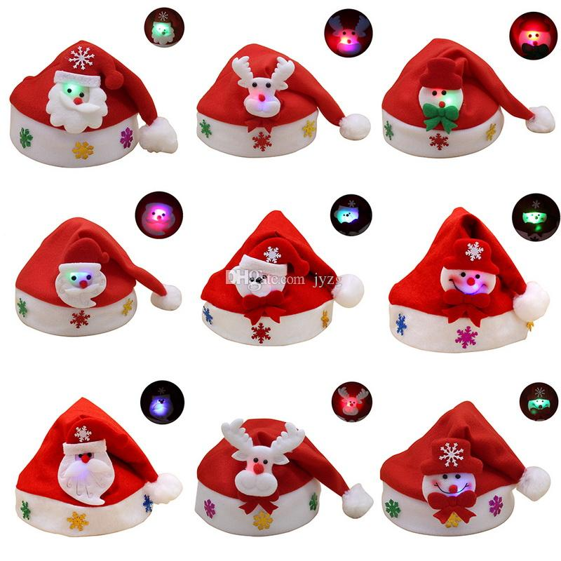 glows Red Santa Claus Hat Ultra Soft Plush Christmas Cosplay Hats Christmas Decoration Adults Christmas Party Hats
