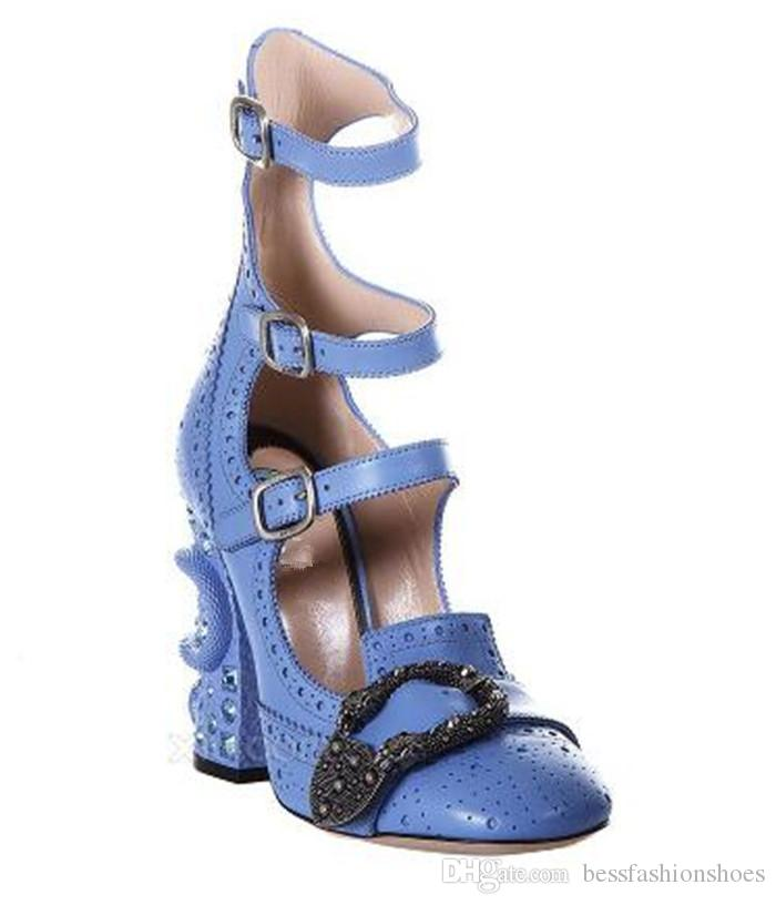 ad707cc5df4b Celebrity Designer Shoes Luxury Round Toe Ankle Boots Buckle High Heels  Python Chunky Heel Band Ladies Pumps Party Rhinestone Shoes Woman Silver  Sandals ...