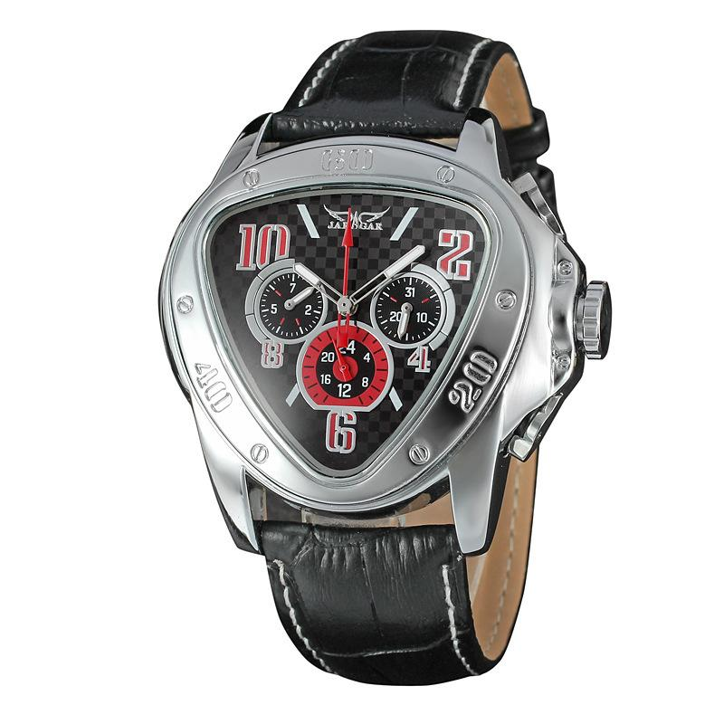 Acheter Montre Homme Jaragar Sport Racing Design Triangle Horloge Bracelet  En Cuir Véritable Mens Montres Haut Marque De Luxe Automatique Montre  Bracelet ... cbf47c98bfc