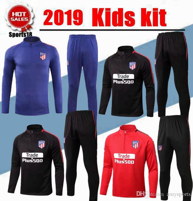 e558f16f0 2019 2018 Kids Kit Atletico Madrid Tracksuit Soccer Sets 18 19 Youth  GRIEZMANN F TORRES KOKE SAUL CARRASCO Football Tracksuit Training Suit  Pants From ...