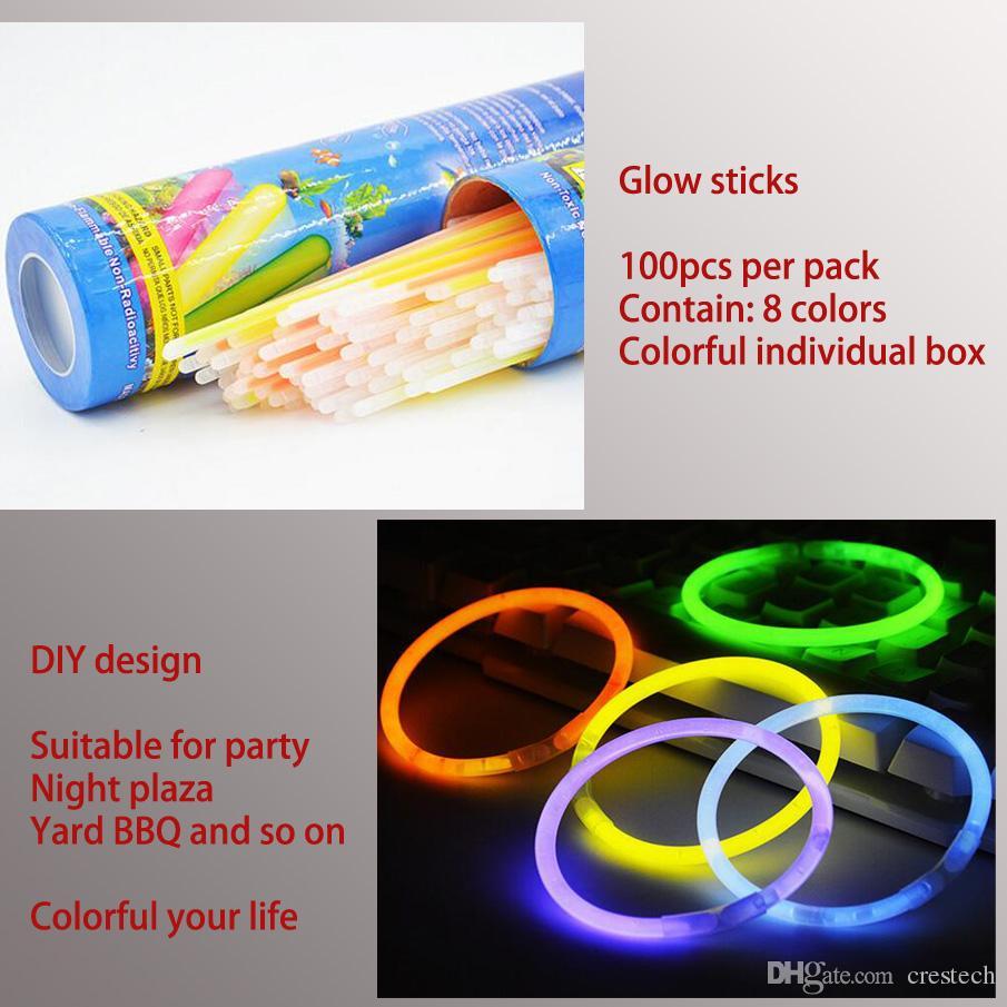 20 CM Glow Stick Multi Farbe Armband 100 stücke pro los Glow Stick Armbänder Mischfarben Party Favors Liefert Licht up Spielzeug