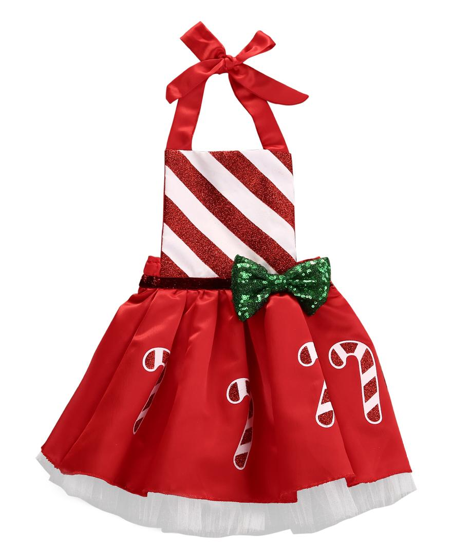2018 Canis Newborn Infant Baby Girls Christmas Jumpsuit Costume Striped Xmas Outfit Party Bowknot Red Neck Dress ZX
