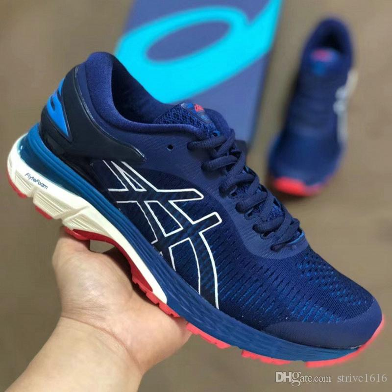 8507d645646 Compre 2018 Hot Asics Gel Kayano 25 Homens Sapatos Mulheres Tênis De  Corrida Melhor Qualidade De Treinamento Barato Leve Online Moda Tênis De  Strive1616