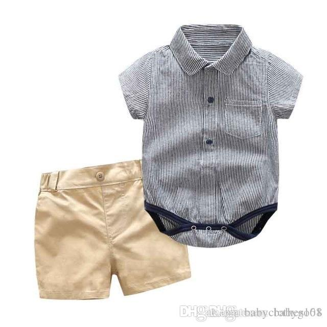 d14fe6719 Summer Boy Clothing Set for Newborn Cotton Rompers + Strap Shorts 3 ...
