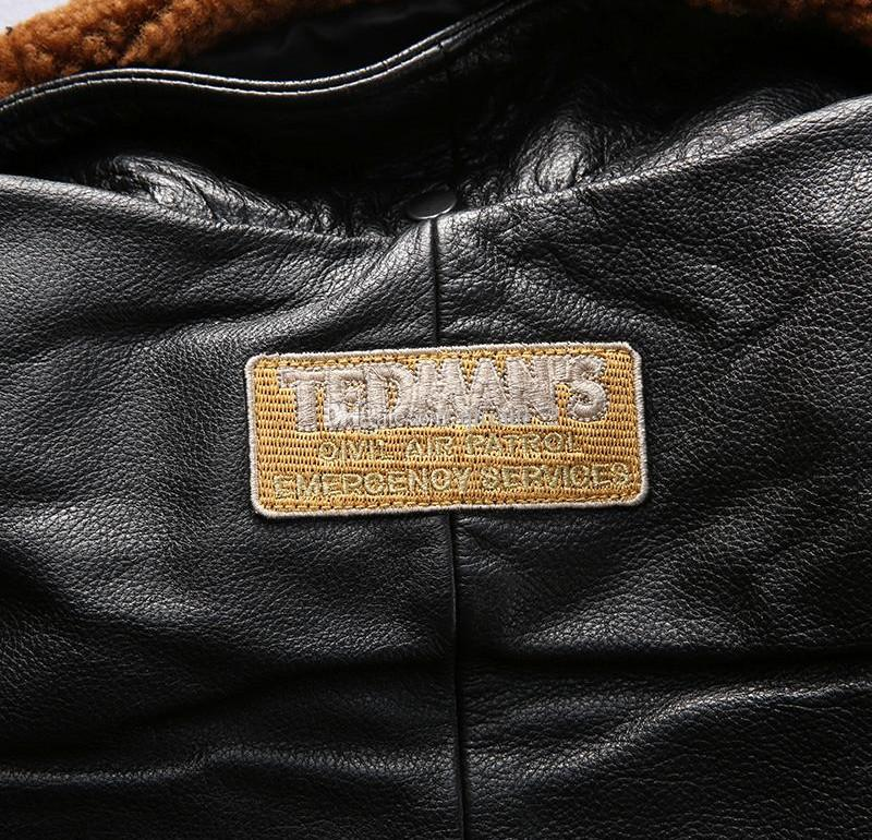 TEDMAN'S AIR COMMAND jackets Autumn and winter multi badge embroidered Air flight suit fur collar mens thick leather jackets