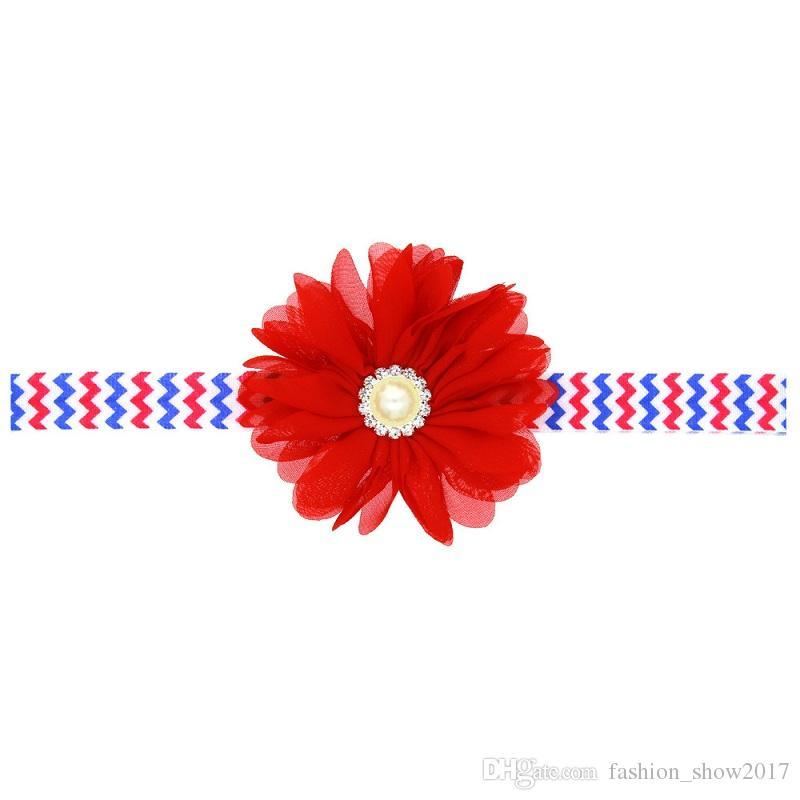 Moda colorata Primavera Estate Festa nazionale Floreale Elastico Fiore squallido Ragazza bambini Fascia capelli Fascia capelli Fiore bambini