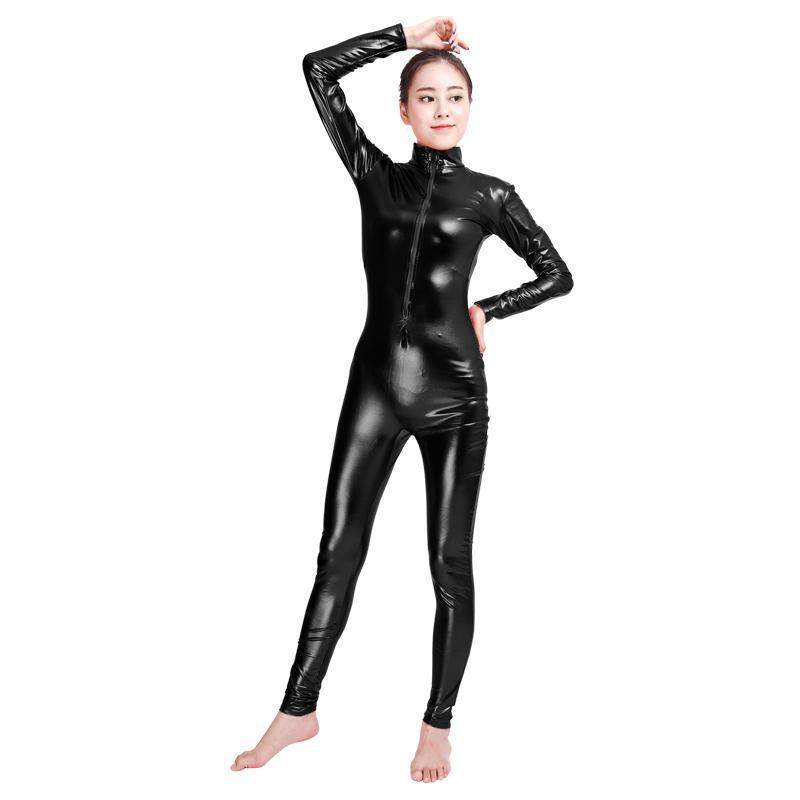 Acheter Ensnovo Unisexe Métallique Brillant Costume Cosplay Zentai Manches  Longues Fermeture Éclair Avant Collants Brillants Spandex Bodyless Costumes  ... 8cad41a01c8