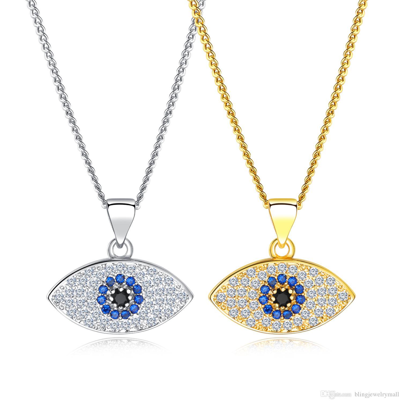 Großhandel Gold Silber Blau Evil Eye Halskette Für Frauen Glück Kristall  Anhänger Kette Halsketten Anhänger Frauen Modeschmuck KX676 679 Von ... 679d95030e