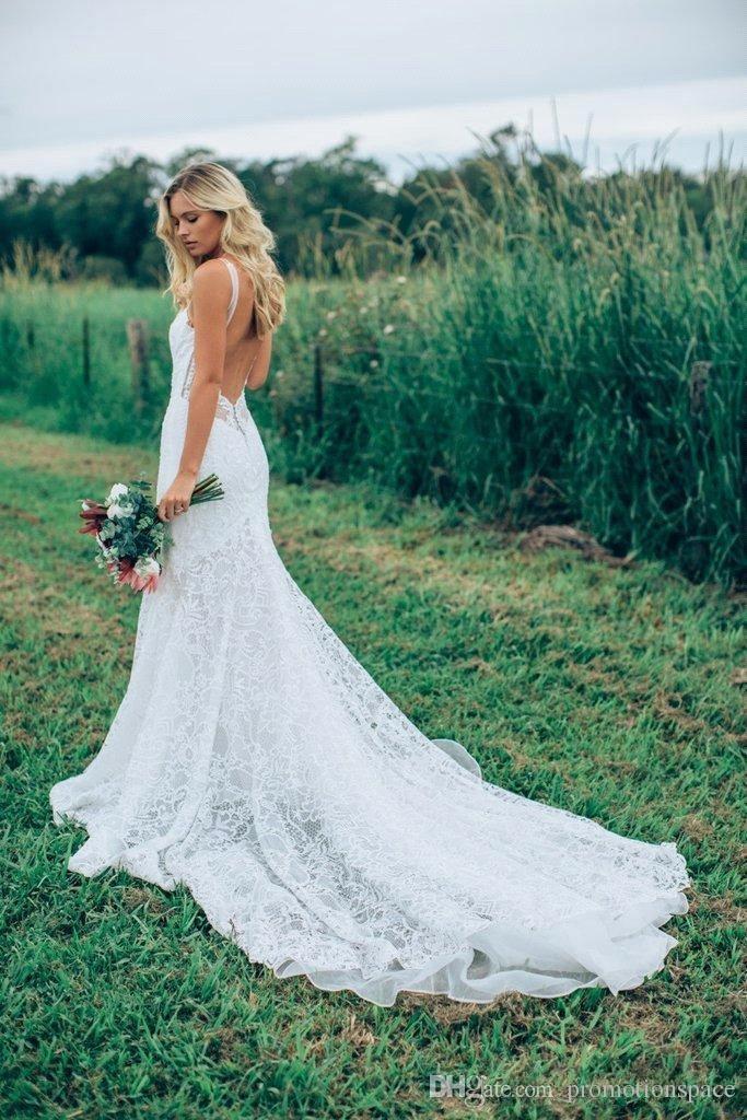 Modest A Line Bohemian Wedding Dresses with Low Back 2017 New Arrival Full Lace Beach Garden Bridal Gowns Vestidos De Noiva