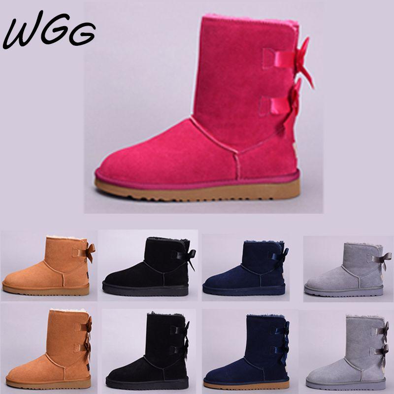 fe50099adb Großhandel UGG Boots Günstige WGG Australia Schnee Stiefel Frauen Mode  Luxus Designer Schwarz Rot Kastanien Grau Kaffee Winter Stiefel Knöchel  Halb Knie ...