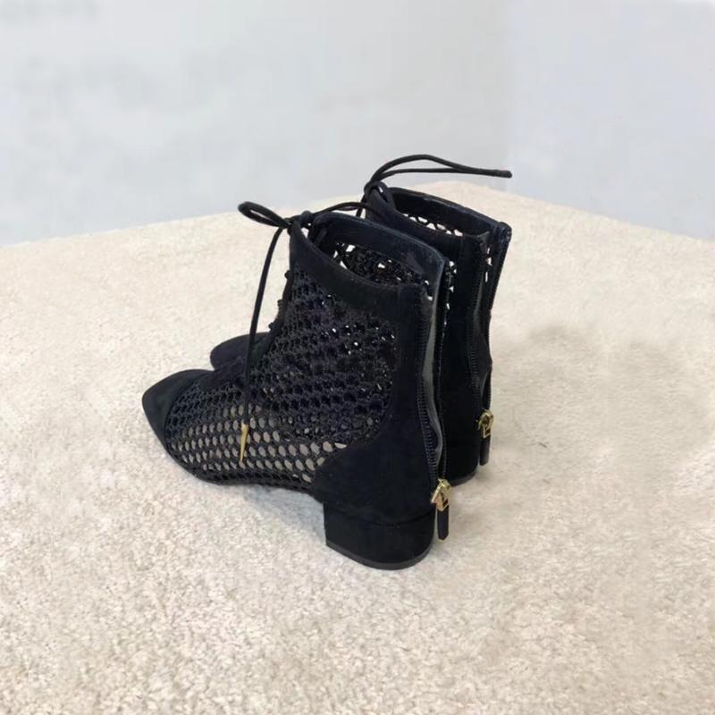 Genuine Leather Mid Heel Sandals Woman New Style Summer Long Boots Bandage Sexy Mesh Fabric Rome Cool Boots High Heel Women Ankle Boots