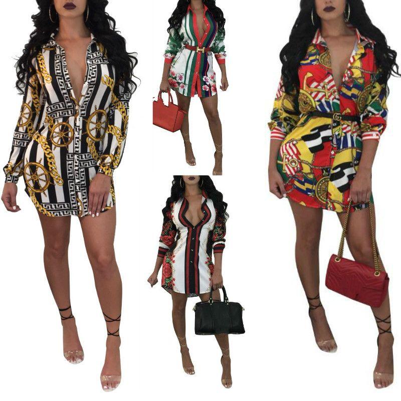 641d8c3e976 Women Casual Shirt Dress Spring Autumn Loose Long Sleeve T Shirt Fashion  Floral Print Shirt Dress Club Bandage Cardigan Dress Plus Size XXXL Elegant  Dresses ...