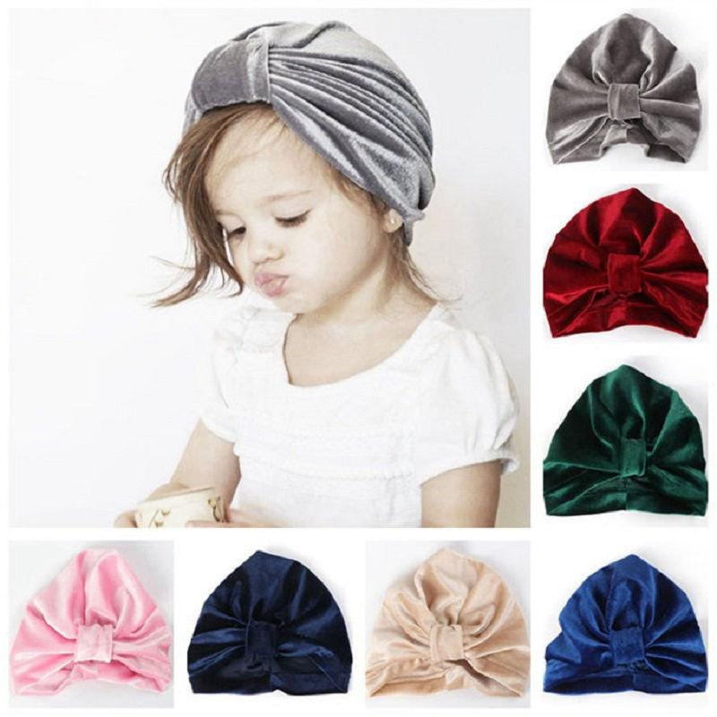 2c399df30 New Baby Turban Hat Girls Autumn head wraps Kids Cap Photo Props Elastic  Beanie Turban Hat Baby Accessories Candy Color H138D