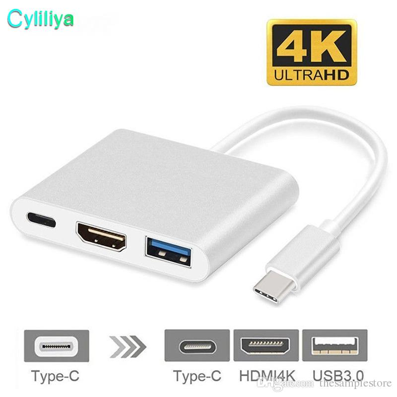 USB 3.1 Type-C to 4K HDMI USB-C Digital AV Multiport 3 in 1 Adapter HDMI4K OTG USB 3.0 HUB & Charger for Macbook 12 HD Connection cable