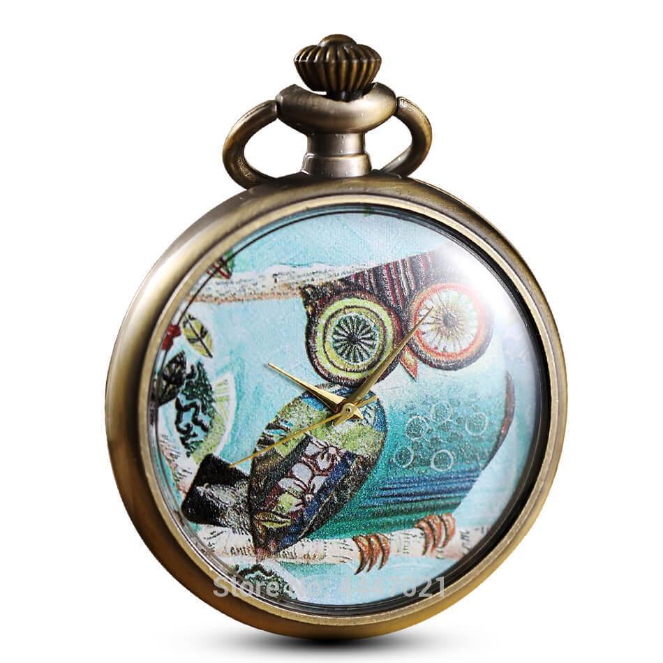 인쇄 올빼미 포켓 시계 체인 빈티지 쿼츠 개인 포켓 시계 Steampunk 남성 여성 아이 선물 Reloj De Bolsillo