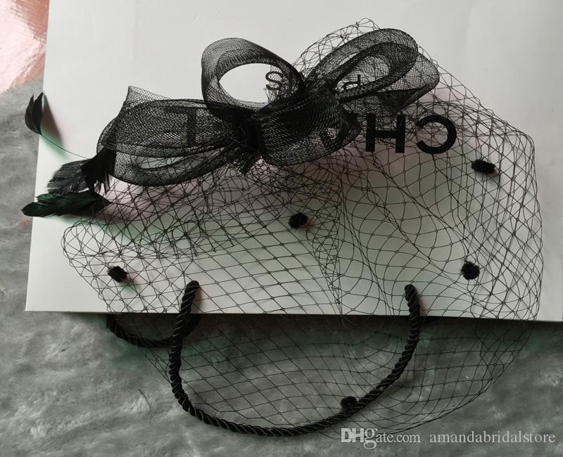 Amandabridal Black Feather Wedding Hats For Brides Women Tulle Birdcage Veil Bridal Hats Headpieces Bridal Accessories