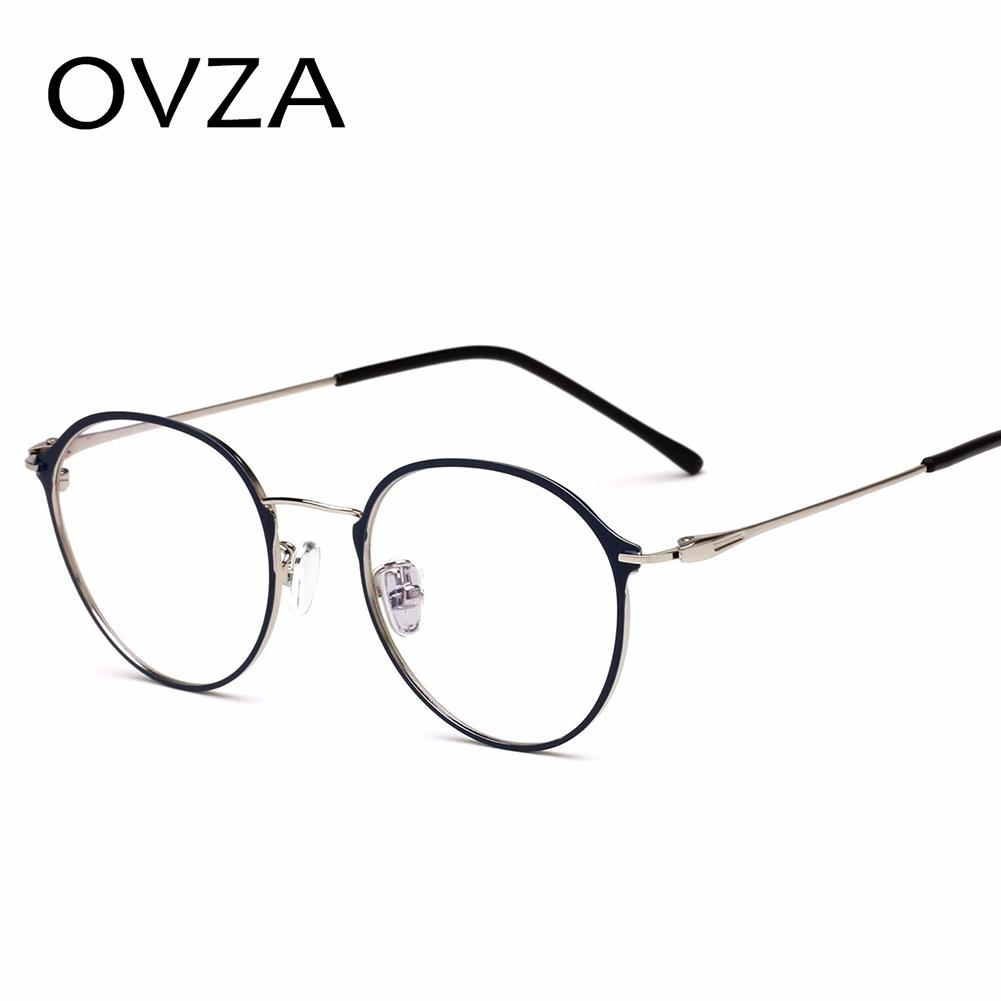 5b831a1ecd673 Compre OVZA Fina Frame Óculos De Armação De Óculos Para As Mulheres Da Moda  De Metal Frame Ótico Masculino Retro Oval Óculos Rosa Azul S7046 De Buafy,  ...