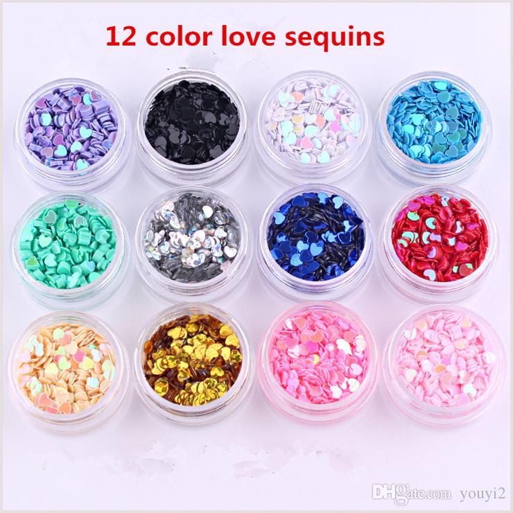 Losange de la mode 12 couleur boîte à paillettes dégradé flash Nail Glitter haute qualité thérapie par la lumière flash Nail Glitter bijoux MG0212010