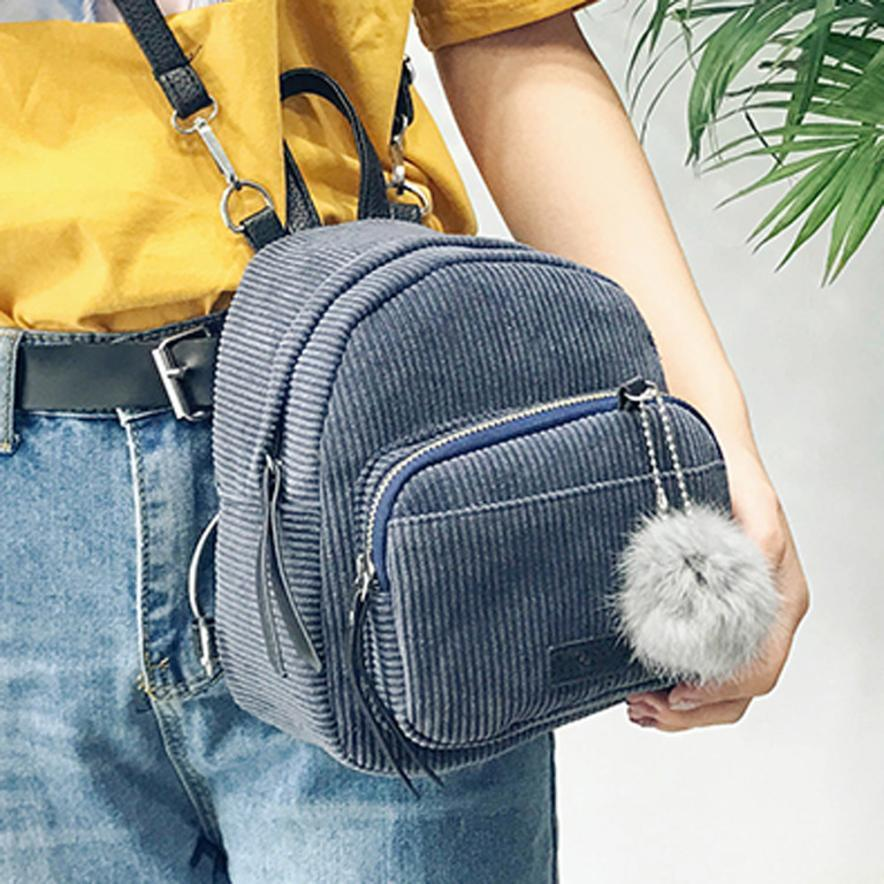 Women Solid Travel Backpacks Striped Pompon Cute New Fashion Cool Casual School  Bag Female Mini For Girl Jansport Big Student Backpack Tactical Backpack ... 5696d7bd9f3f3