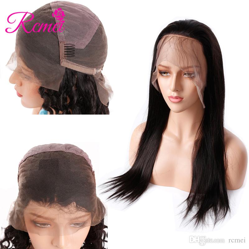 Hair Extensions & Wigs 360 Lace Frontal Wigs 150 Density Pre Plucked With Baby Hair For Women Indian Remy Human Hair Wig 10-24 Inch Natural Black Rcmei Moderate Price Lace Wigs