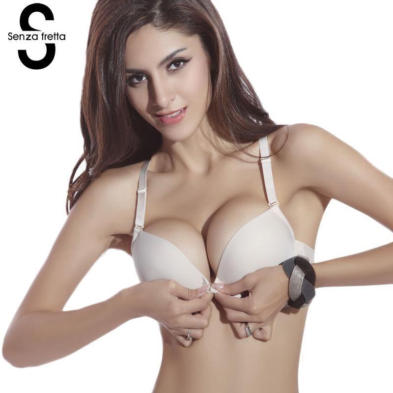 db3c066600 2019 Senza Fretta Sexy Seamless Bra Gather Adjustable Women Lingerie Super Push  Up Bra Brassier Front Closure Cotton Bra From Clothingdh