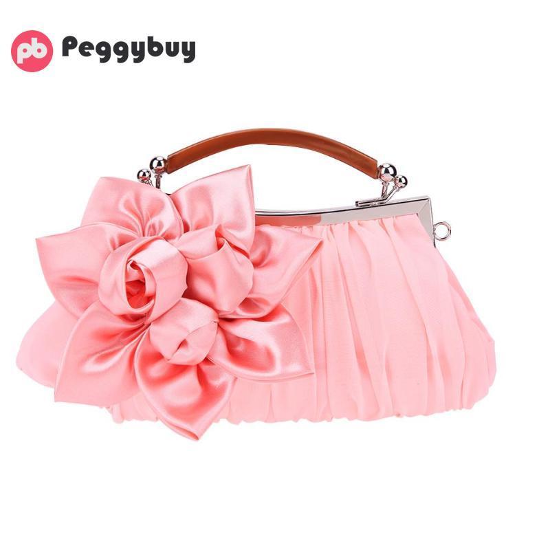 Women Hobo Purses And Handbags Satin Party Wristlet Handbag Clutch Wedding  Flower Pure Clip Chain Shoulder Bags Mochilas Totes Crossbody Bags Clutch  Bags ...