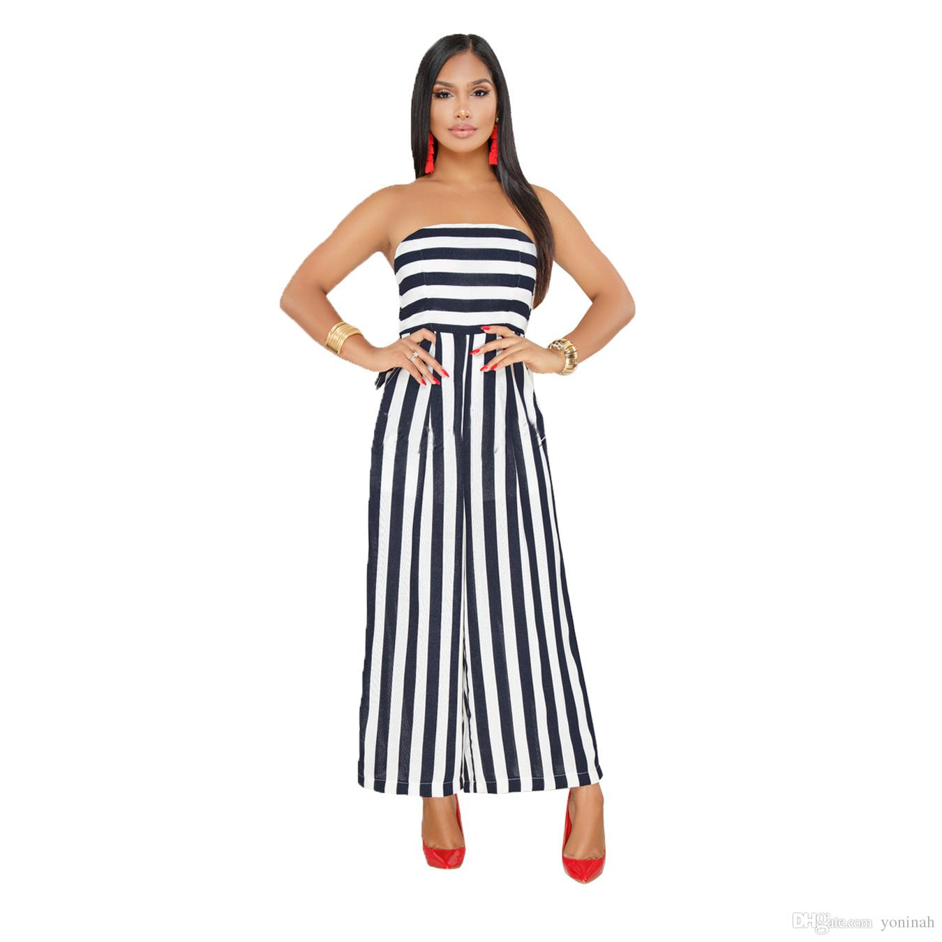 03579cbf5cb7 Striped Off The Shoulder Sexy Playsuit For Women Summer Plus Size 3XL  Strapless Wide Legs Overalls Long Jumpsuit UK 2019 From Yoninah