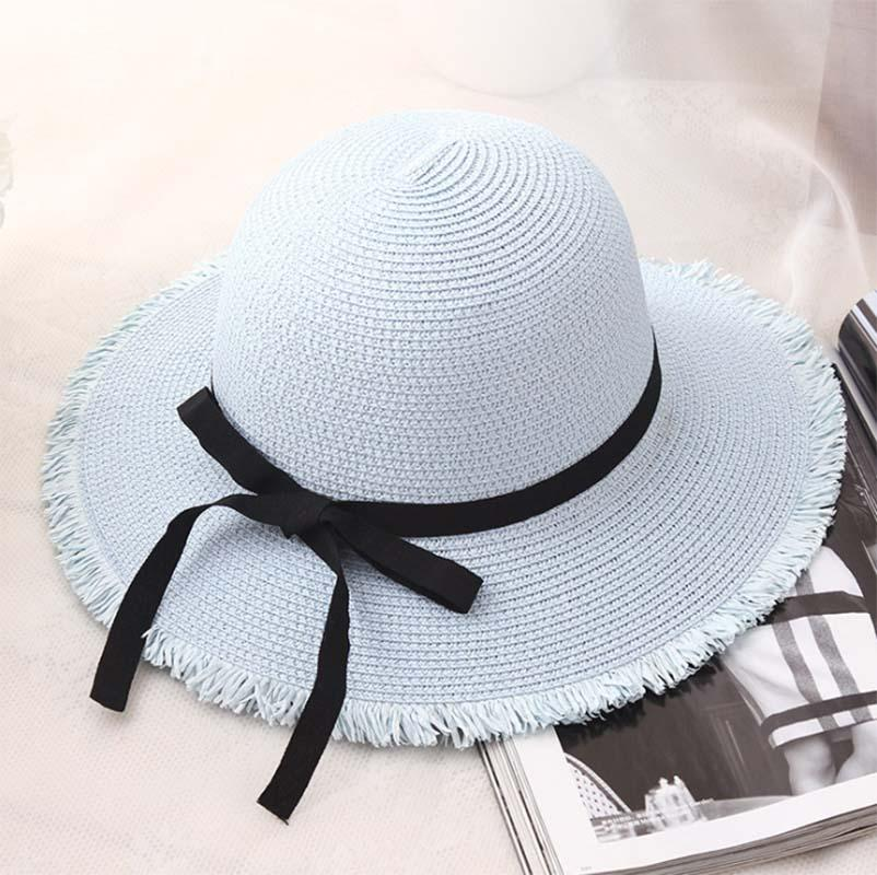 5521f02c XINCAI Heavy Discount !High Sales !2018 Latest Style Summer/Outdoor Blue  Ribbon/Deckle Edge Raffia Straw Hat/Wide Brim Women Hat Cheap Hats Kids Hats  From ...