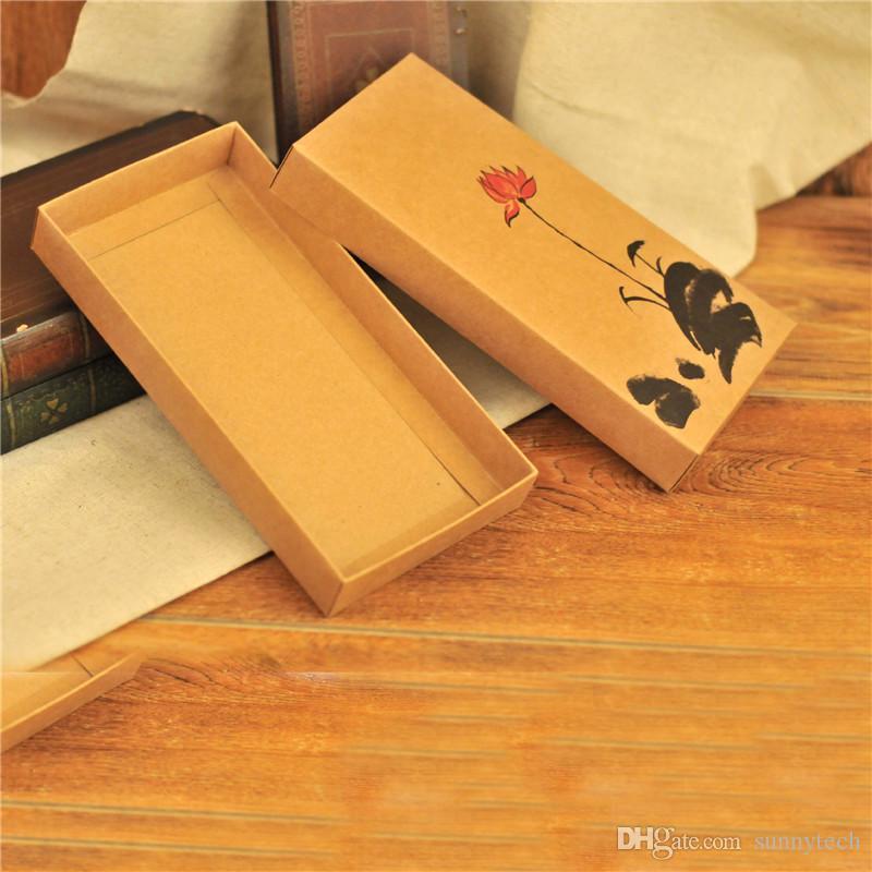 Caja de regalo Kraft Maquillaje hecho a mano Caja de embalaje Embalaje Macaron Cajas de papel marrón 22.5cm * 11.5cm * 3cm LZ1001