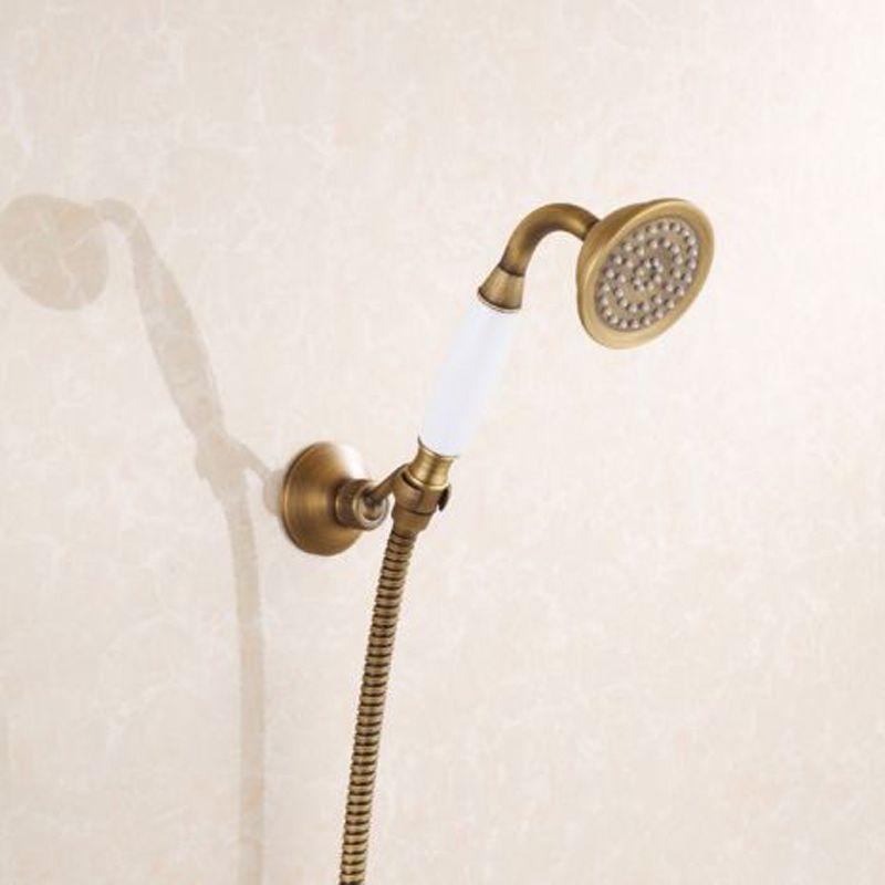 Best Antique Brass Hand Shower Head + Shower Hose + Pedestal Holder ...