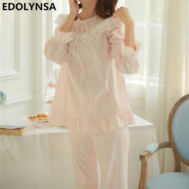 2019 Pyjamas For Women 2017 Pajama Sets Vintage Indoor Clothing Long Pants  Solid Sleepwear Cotton Women Lace Soft Home Wear  H327 From Longmian 773f38af6
