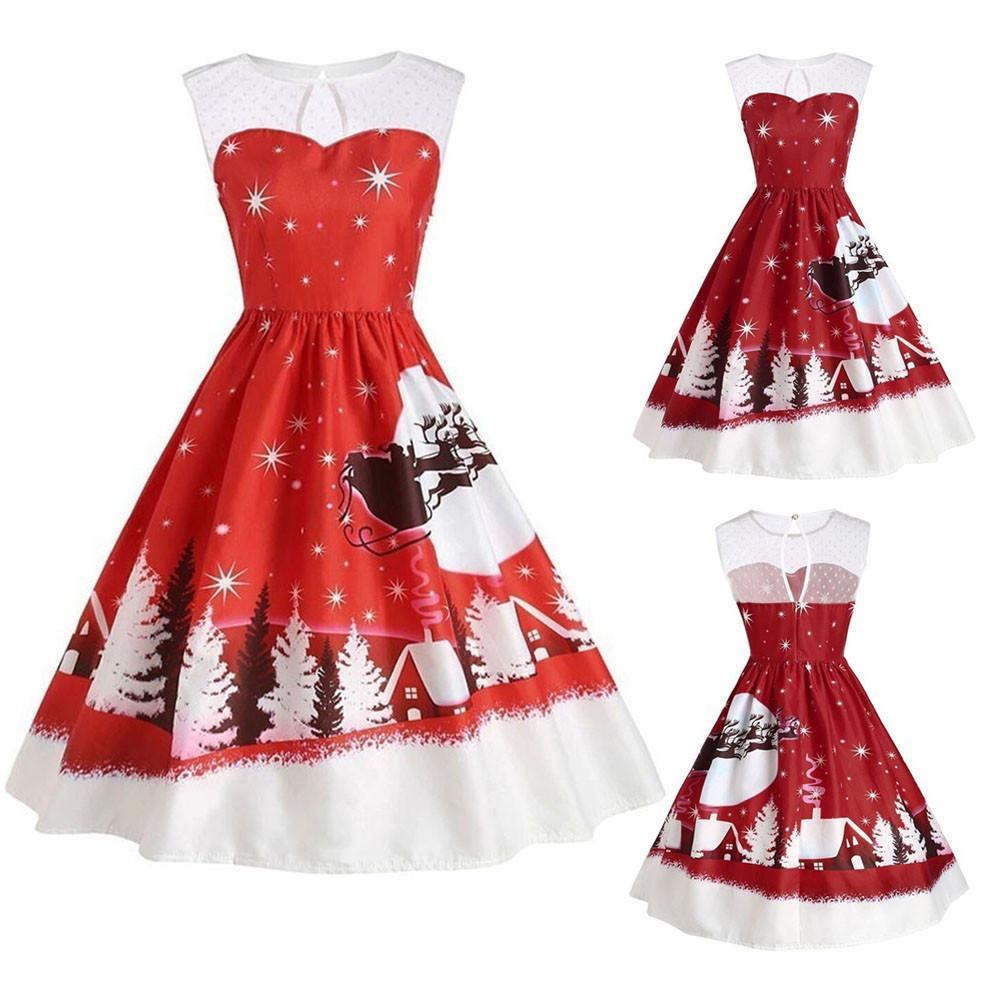 ishowtienda womens dress vintage christmas dresses o neck printed sleeveless a line swing dress vestido de festa roupas femin dresses cheap dresses - Vintage Christmas Dress