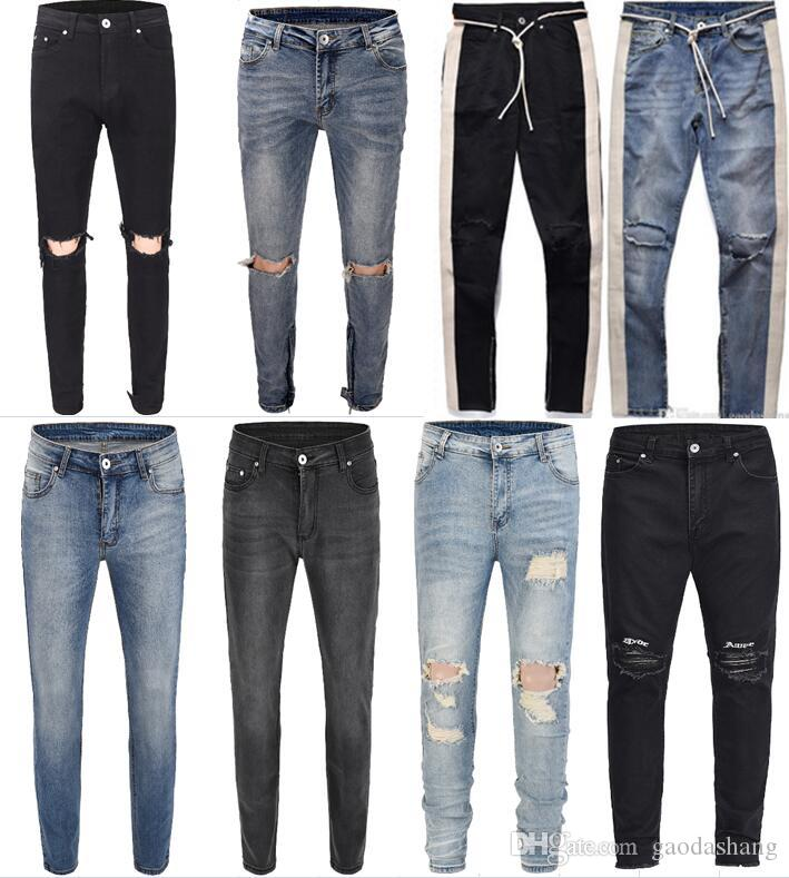 À Zipper Hip 30 Rayures Fashion 36 Bleu Jeans 2018 New Couture Blanches Noir 18 Bottom Style Destroyed Biker Men Side Hop Déchiré 54jL3AqcR