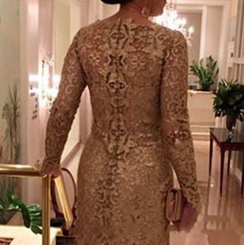 2018 dentelle d'or mère de la mariée robes arabe sirène manches longues manches longues robe d'invité formelle
