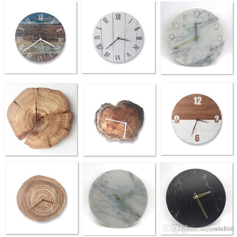 c1285567425 Compre Retro DIY Relógio De Parede De Madeira Rodada Relógio De Mesa  Digital De Arte Criativa Despertador Home Office Decoração Para O Presente  De Natal De ...